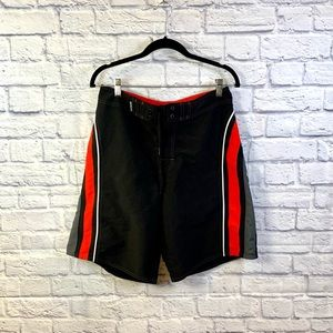 Mens Black Red and Gray Swim Board Shorts